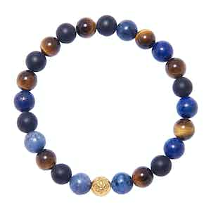 Blue Lapis, Brown Tiger Eye and Onyx Wristband
