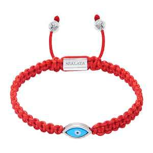 Red String Bracelet with Silver Evil Eye