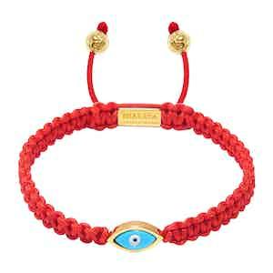 Red String Bracelet with Gold Evil Eye