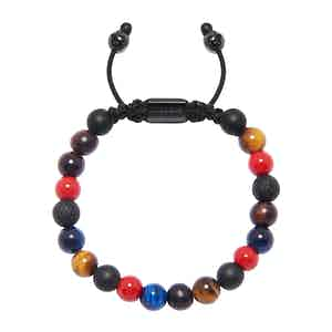 Red Vintage Trifocal Bead, Matte Onyx, Lava Stone and Red Tiger Eye Bracelet