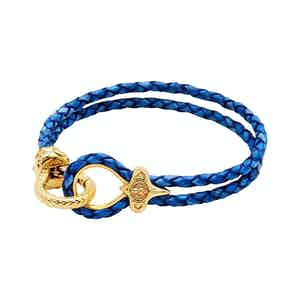 Blue Leather Bracelet with Gold Hook Clasp