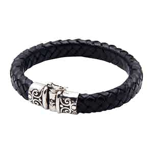 Black Leather Bracelet with Silver Lock