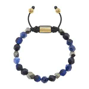 Faceted Blue Lapis, Matte Onyx and Iron Pyrite Squared Bead Wristband