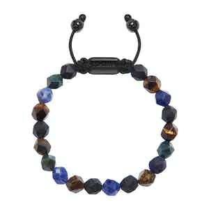 Faceted Blue Lapis, Brown Tiger Eye, Matte Onyx and Green Bloodstone Wristband