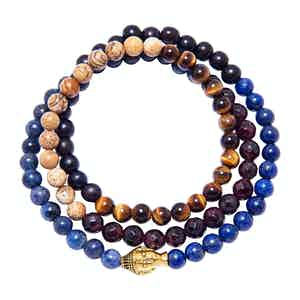 Men's Wrap Around Bracelet with Blue Lapis, Jasper, Brown Tiger Eye, Garnet and Gold Buddha
