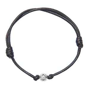 Black String Bracelet with Silver