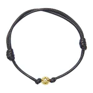Black String Bracelet with Gold