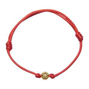 Red String Bracelet with Gold