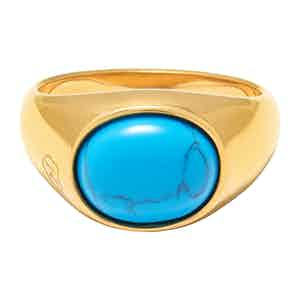 Gold Oval Signet Ring with Turquoise