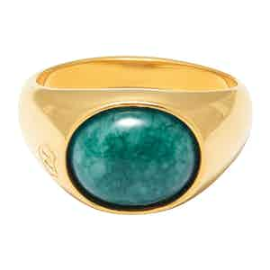 Gold Oval Signet Ring with Green Jade