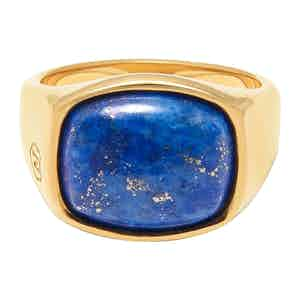Gold Signet Ring with Blue Lapis