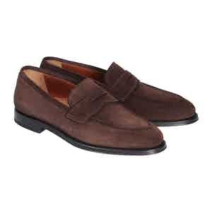 Chocolate Suede Leather Evan Penny Loafers