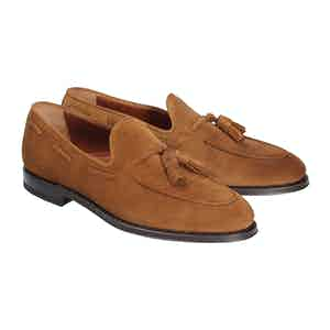 Tobacco Brown Tasseled Suede Leather Loafers