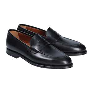 Black Calf Leather Evan Penny Loafers