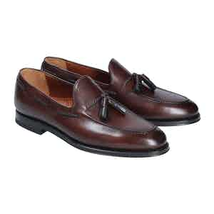 Dark Brown Tasseled Suede Leather Harry Loafers