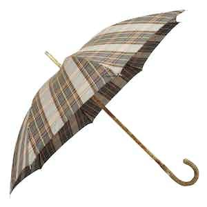 Green Tartan Polycotton Umbrella with Ash Wood Handle