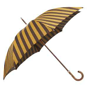 Yellow and Brown Regimental-Striped Fit-Up Umbrella