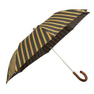 Brown, Yellow and Red Striped Folding Umbrella