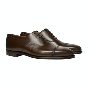 Dark Brown Leather Punched Toe Charles Oxfords