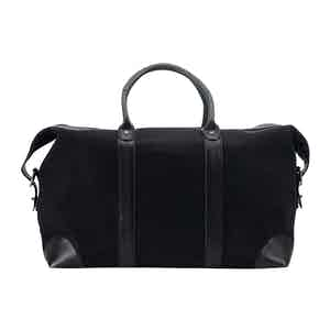 Black Cotton Canvas and Leather Weekend Bag