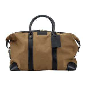 Khaki Cotton Canvas and Leather Weekend Bag