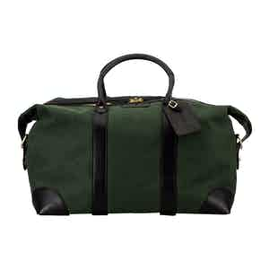 Green Cotton Canvas and Leather Weekend Bag
