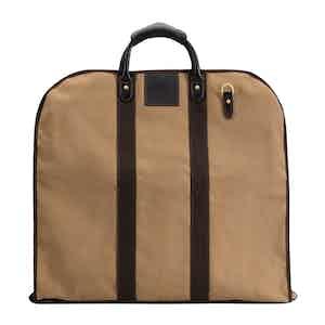 Khaki Cotton Canvas and Leather Garment Bag