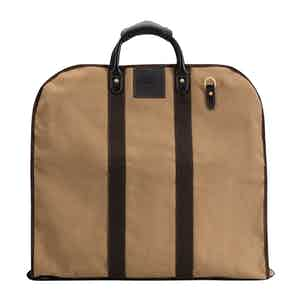 Khaki Cotton Canvas and Leather Garment Bag