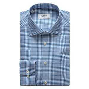 Blue and White Houndstooth Slim Cotton Shirt