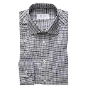 Grey and White Slim Cotton King Twill Shirt