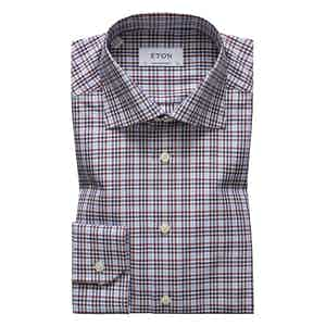 Red and Blue Checked Contemporary Cotton-Tencel Shirt