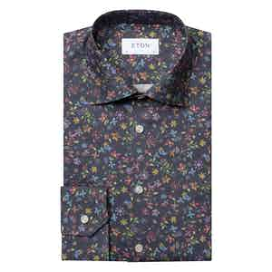 Navy Valley of Flowers Contemporary Cotton Shirt