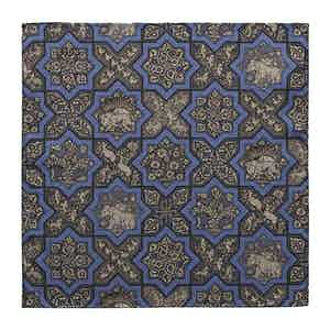 Blue Silk-Cotton Mosaic Print Pocket Square