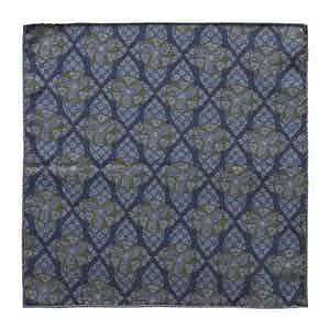 Blue Geometric and Dotted Wool Pocket Square
