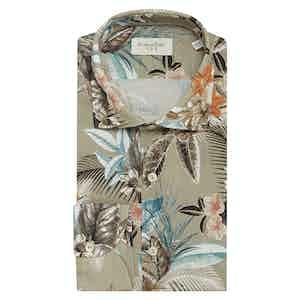 Khaki Cotton Tropical Flower-Print Shirt