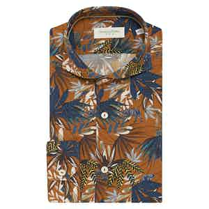 Orange Jungle Print Cotton Shirt