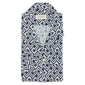 Blue Retro Graphic Print Viscose Shirt