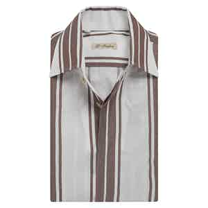 Brown Cotton Broad Stripe Capri-Collar Shirt
