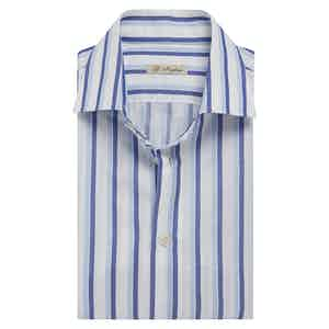 Azure and Light Blue-Striped Cotton Shirt