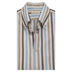 Brown, Light Blue and Beige-Stripe Cotton Shirt