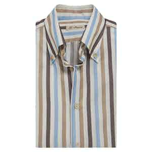 Brown, Light Blue and Beige-Stripe Cotton Shirt