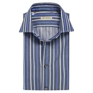 Blue Double-Striped Cotton Shirt