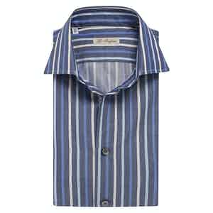 Blue Double-Striped Cotton Shirt