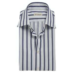 Navy and Turquoise Striped Cotton Exclusive Shirt
