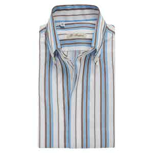 Turquoise and Brown-Striped Cotton Shirt