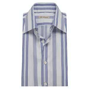 Blue Cotton Multi-Stripe Classic Exclusive Shirt