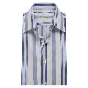 Blue Cotton Multi-Stripe Classic Exclusive Shirt