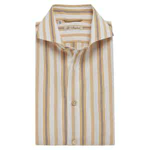 Orange and Navy Multi-Striped Exclusive Cotton Shirt