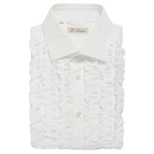 White Cotton Poplin Ruched Tuxedo Shirt