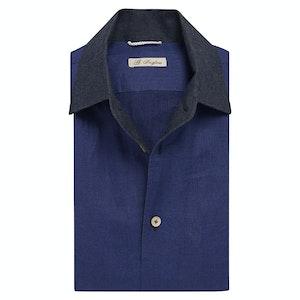 Blue Linen Denim Collar Shirt